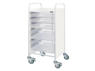 Vista 55 Trolley - 3 Single/2 Double Clear Trays