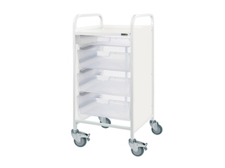 Vista 55 Trolley - 1 Single/3 Double Clear Trays