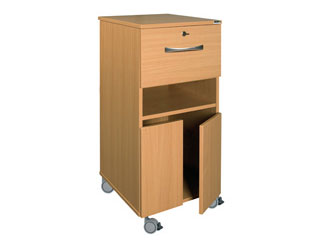 Bedside Cabinet with Castors & Single Locking Top Drawer (Laminate Faced MDF)