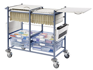 Medical Notes Trolley (Large) with Open Sides & Hinged Locking Tops