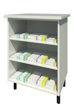 Bench Unit with Two Shelves