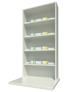Overbench Unit with Four Shelves