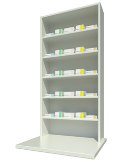 Overbench Unit with Five Shelves
