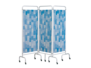 Three Panel Screen - Blue Patchwork