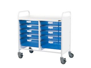 Vista 100 Trolley - 8 Single/2 Double Blue Trays