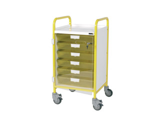 Vista 40 Yellow Clinical Trolley - 5 Single Green Trays