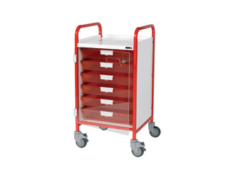 Vista 40 Red Clinical Trolley - 5 Single Red Trays