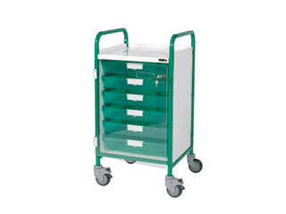 Vista 50 Green Clinical Trolley - 6 Single Green Trays
