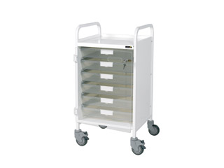 Vista 50 White Clinical Trolley - 6 Single Clear Trays