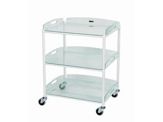 Dressing Trolleys - 3 Glass Effect Safety Trays
