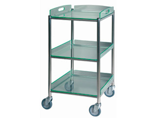 Surgical Trolley - 3 Glass Effect Safety Trays - Length 460mm