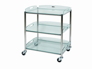Surgical Trolley - 3 Glass Effect Safety Trays - Length 660mm
