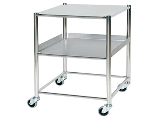 Surgical Trolley - 1 Stainless Steel Shelf & 1 Tray - Length 660mm