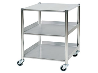 Surgical Trolley - 1 Stainless Steel Shelf & 2 Trays - Length 660mm