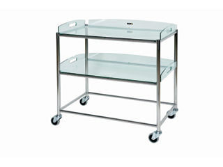 Surgical Trolley - 2 Glass Effect Safety Trays - Length 860mm