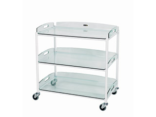 Surgical Trolley - 3 Glass Effect Safety Trays - Length 860mm