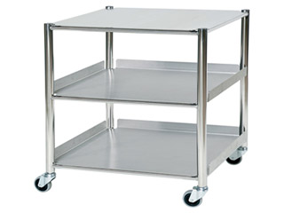 Surgical Trolley - 1 Stainless Steel Shelf & 2 Trays - Length 860mm