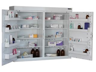 Medicine Cabinet 255 Litre 8 shelves & 8 door trays, two doors