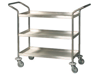 General Purpose Stainless Steel Trolley 3 Tier with Buffers-Light Duty
