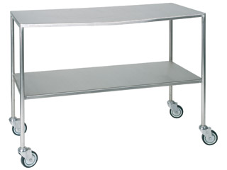 Dressing Trolley 1220mm (W) - Stainless Steel with Two Fixed Shelves All Edges Down (Flat)