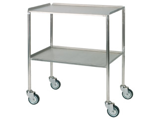Dressing Trolley 760mm (W) - Stainless Steel with Two Shelves