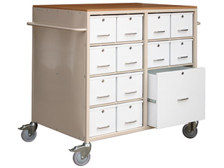 Drug Trolley 24 Lockable Alliminuim Drawers & 1 Large Storage Drawer