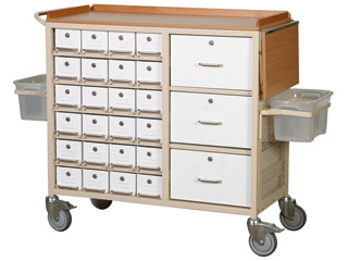Drug Trolley 24 Lockable M/S Drawers & 3 Storage Drawer- All Open From One Side