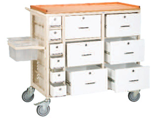 Self Administration Drug Trolley with Six Small Locking Drawers & Six Large Locking Drawers