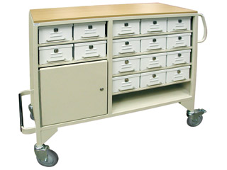 Drug Trolley with 16 Lockable Drawers