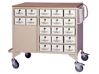 Drug Trolley with 38 Lockable Drawers (19 Each Side) & 2 Storage Drawers